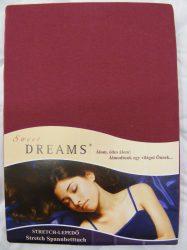 Sweet Dreams jersey gumis lepedő burgund 140/160x200 cm